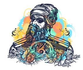 Biker tattoo watercolor splashes style. Bearded hipster in earphone listens to music. Symbol of pop music, hard rock, heavy metal, biker t-shirt design