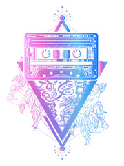 Music concept. Old audio cassette and roses flowers, symbol of pop music, disco. Audio type and graceful flowers in mystical triangle tattoo and t-shirt design. Symbol of retro music, nostalgia
