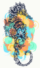Sea horse tattoo and t-shirt design watercolor splashes style. Symbol of travel, freedom, navigation