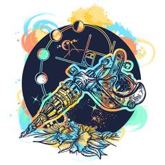 Tattoo machine and rose t-shirt design watercolor splashes style. Symbol of tattoo studio