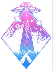 Mystical symbol paranormal phenomena,  first contact, UFO kidnapped  tourist from tent in mountains. UFO tattoo art and t-shirt design. Invasion of aliens. Aliens kidnap human