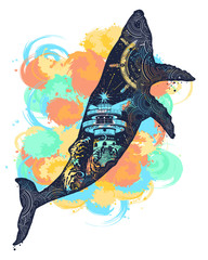 Magic whale tattoo art watercolor splashes style.  Double exposure animals t-shirt design. Symbol Travel, adventure tourism. Lighthouse and waves inside  whale