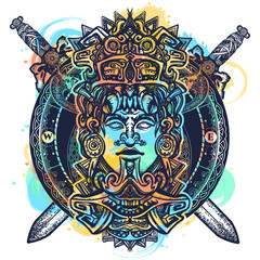 Ancient aztec totem watercolor splashes style, Mexican god warrior and crossed swords. Ancient Mayan civilization tattoo and t-shirt design