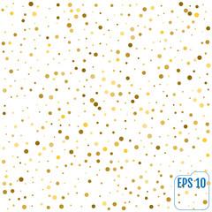 Gold glitter background polka dot, vector illustration