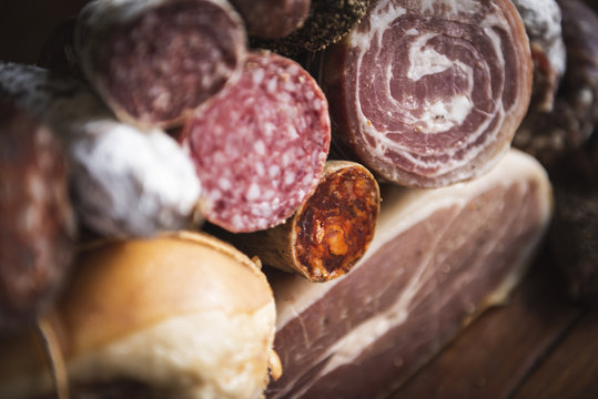 Closeup of charcuterie meat products food photography recipe idea