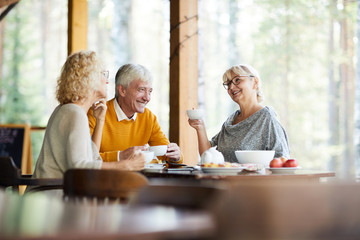 Cheerful optimistic senior friends gathering together in cozy outdoor cafe: they drinking tea with sweets and talking about life