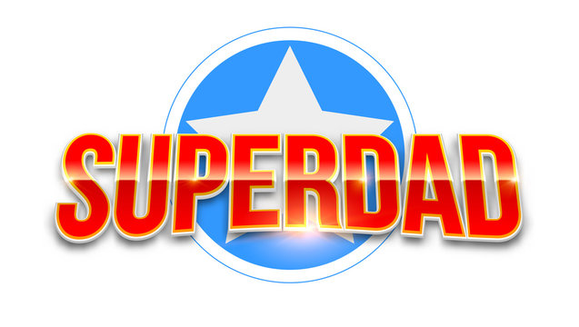 Super dad logo like superhero isolated on white background. Stylish glossy text Super Dad on background of star. Happy Father s Day celebration concept. Template for greetings cards.