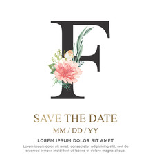 Alphabet F flower font made of paint floral and leaf watercolor on paper. Vector Hand Drawn letter A paint luxury design. Sweet collection for wedding invites decoration card and other concept ideas.