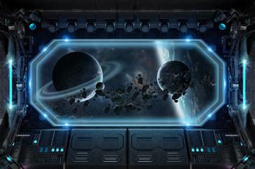 Dark spaceship interior with large window view 3D rendering