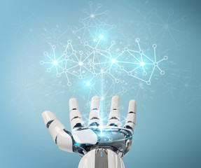 White cyborg hand using digital network connection 3D rendering