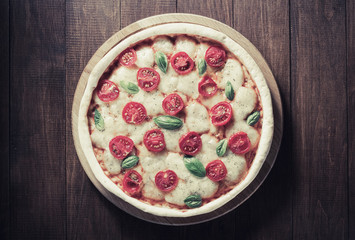 pizza at wooden table