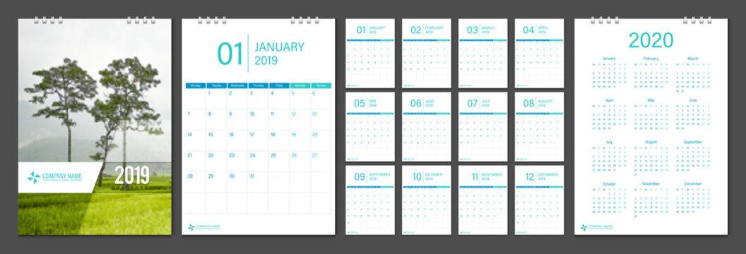 2019 calendar week start Monday corporate business luxury design layout template vector.