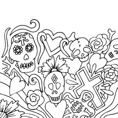 Day of the Dead card in hand drawn style