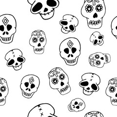 Day of the Dead seamless pattern in hand drawn style