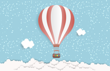 Hot air balloon in the sky with clouds. Origami paper art and digital craft style. Vector illustration
