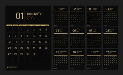 2019 calendar week start Sunday corporate business luxury design layout template vector.