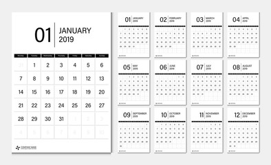 2019 calendar week start Monday corporate business luxury design layout template vector.