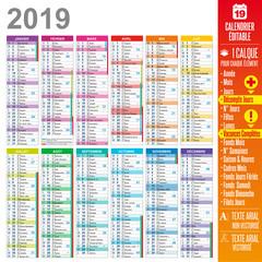 Calendrier 2019 - Vacances Scolaires Complètes - Éditable & Multicalques