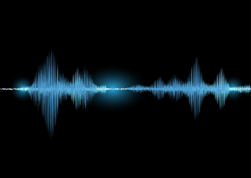 Sound waves oscillating glow light in blue tone on black background, Technology digital splash or explosion concept, Neon sound waves in music production.