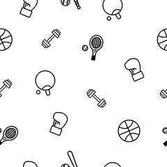 Seamless of hand drawing vector doodle icons set of sport equipment elements including baseball, basketball, dumbbell, tabletennis, tennis and boxing gloves, repeating sport wallpaper.