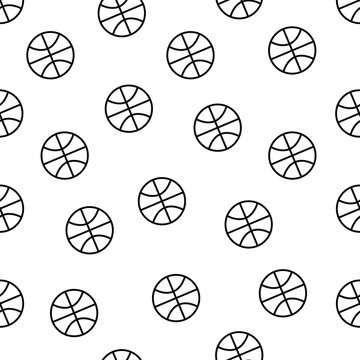 Seamless minimalistic basketball pattern in black and white tone isolated on white background, sport equipment vector wallpaper for textile print, page fill, repeating background.