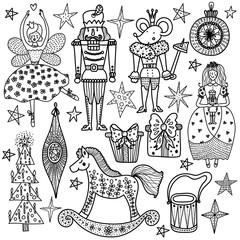 Christmas coloring book the Nutcracker. Magic vector illustration.