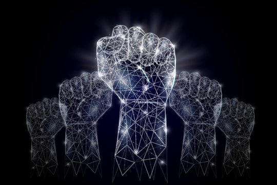 Raised hands vector geometric polygonal art background