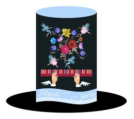 Unusual invitation card for music party. Black Hat Cylinder with Blue Ribbon,  bouquet of garden flowers and tiny winged fairy and elf dancing in the air.