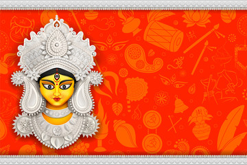 Wall Mural - Goddess Durga Face in Happy Durga Puja Subh Navratri background