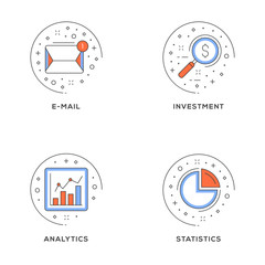 E-mail, investment, analytics, statistics. Set of 4 flat line icons. Flat line illustration concept for web banner and printed materials. Vector illustration