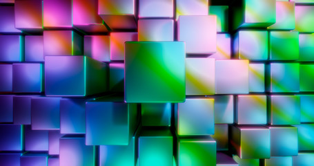 3D rendering. Multicolored cubes on a bright background. Geometric figures surrounded by bright highlights. Colorful environment