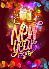 New year party vector poster design, champagne glasses and confetti