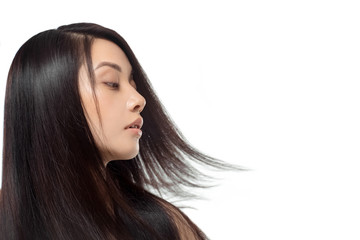 portrait of young asian woman with beautiful and healthy hair isolated on white