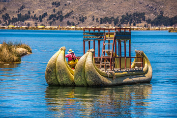 Uros floating islands of lake Titicaca, Peru, South America