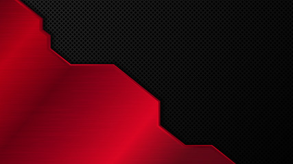 Black and red metal background. Vector metallic banner. Abstract technology background