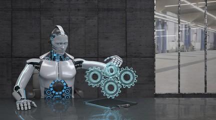 Ein Roboter als Ingenieur arbeitet an einem Getriebe welches als Hologramm dargestellt wird