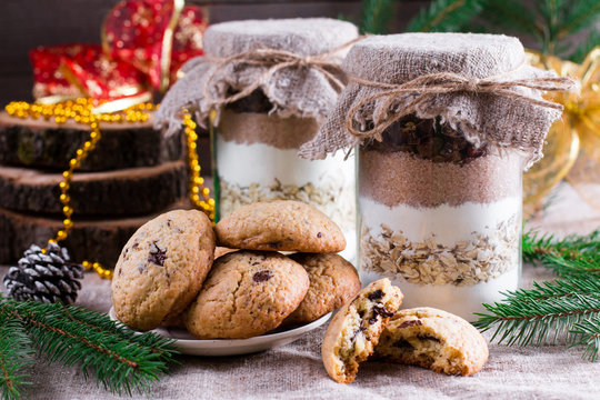 Chocolate chips cookie mix in glass jar