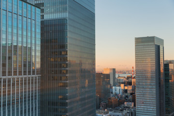 architecture and urban concept - skyscrapers or office buildings in downtown of tokyo city