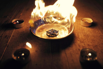 Burning Pentagram on Steel Plate