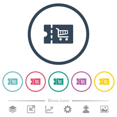 Cart discount coupon flat color icons in round outlines
