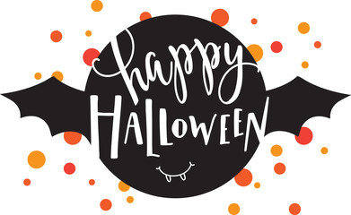 Vector illustration of  happy halloween lettering, bat and confetti.