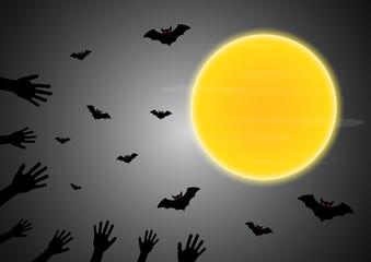 Halloween zombie hand moon bat vector