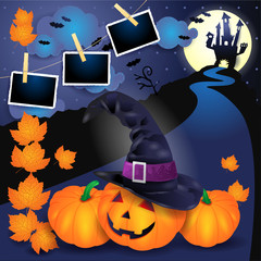 Halloween background with pumpkins, witch's hat, castle and photo frames