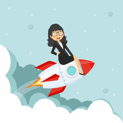 businesswoman Sitting On on a Flying rocket