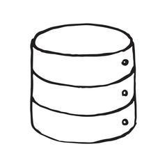 Database storage doodle icon