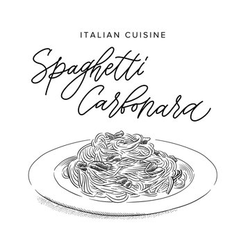 italian pasta spaghetti carbonara on a plate, sketch style vector illustration