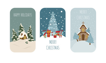 Cute winter holiday sticker icon set. Elements for christmas greeting card, poster design