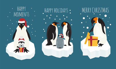Imperial penguin on the ice floe sticker icon set. Elements for christmas holiday greeting card, poster design