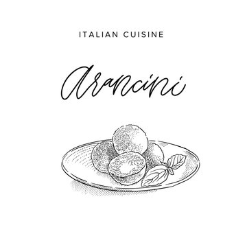 fried rice balls arancini on a plate, sketch style vector illustration