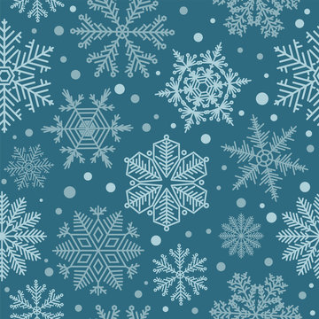 Snowflake seamless pattern. Vintage winter background. Christmas collection
